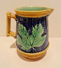 MAJOLICA COBALT PITCHER JUG BASKETWEAVE AND LEAF Antique