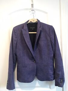 Banana Republic Purple Houndstooth Wool Viscose Blazer Jacket sz 4