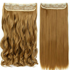 Clip In Hair Extensions Half Head Easy To Wear Long Curly Straight Brown Blonde