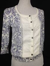 Aventure sz M Floral Sheer lace Pleated Peasant soft Top