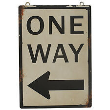 """One Way"" Antique Wisdom Metal Tin Sign Wall Décor 8.25""H"