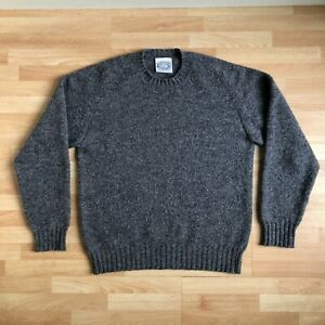 Jamieson's of Shetland Sweater Grey Large Knit Made in Scotland