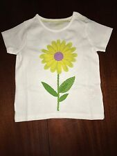 NWT 2/3 Mini Boden White Tee w/ BIG Yellow Flower in Center