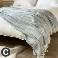 Luxury Woollen Feel Large Double / King Size Bed Throw Sofa Blanket Grey Checked