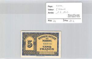 Maroc 5 Francs 1.8.1943 n° 6905160 Pick 24