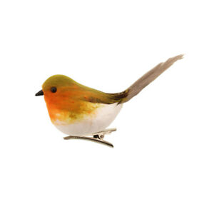 10cm Clip-On Feathered Robin Christmas Tree Decoration