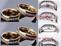 WHOLESALE 30PCS GOLD SILVER STAINLESS STEEL RINGS ZIRCON WEDDING JEWELRY LOTS