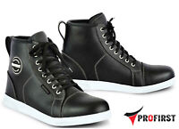 Mens Motorbike Waterproof Leather Boots Sneaker Shoes Motorcycle Armoured Boots