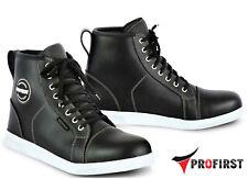 Men Leather Sneakers Motorbike Motorcycle Boots Shoes Waterproof Armour Black