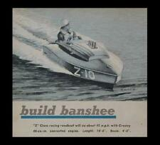 10' Inboard Racing Boat Z class Runabout 1950 How-To build PLANS *Banshee