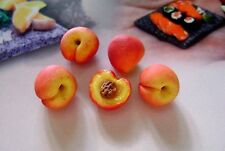 *LOT 6 PEACHES miniature dolls house food maison de poupée Dolls house