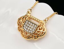 Sparkly clear crystal Chinese lucky coin symbol pendant gold plated necklace U56