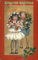 Christmas Happy Well-Dressed Boy & Girl TUCK Crimson & Gold c1910 Postcard