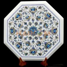 """12"""" White Marble Coffee Table Top Paua Shell Mosaic Floral Inlay Home Decor W620"""