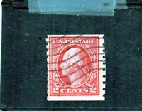 us scott # 413 2c carmine (I) 1912 coil stamp perf 8 1/2  vert. vf used