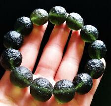 Green GEM MOLDAVITE Meteorite Impact Glass Bead Bracelet - 16Beads / 47.1g