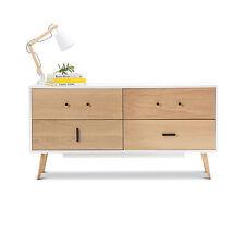 Modern Retro Scandinavian Design WHITE TIMBER Sideboard 4 Drw Storage w Oak Legs