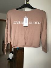 Brand New Size S M 8 10 12 ZARA Love Me Louder Cropped Batwing Pink Top Shirt