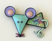 Adorable mouse Brooch pin in enamel on metal