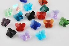 20pcs Mixed Colors Faceted Glass Crystal Butterfly Shape Beads Spacer 14mm New
