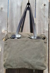 FILSON #70261 OTTER GREEN ZIPPERED TOTE/BRIEFCASE COTTON TWILL BRIDAL LEATHER
