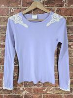 Anna Sui sz M Long Sleeve Top Shirt Lilac Lavender Light Purple Lace Crewneck