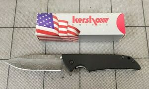 "Kershaw 1760DAM Skyline, 3.1"" Damascus Plain Blade, Black G-10 Handles SOLD OUT"