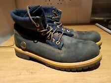 Timberland blue denim + nubuck roll top boots UK 5.5 vgc