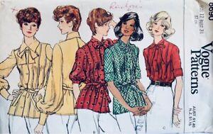 Vintage Vogue Sewing Pattern 8690 | Misses Tie Neck Shirt Blouse Size 12 UNCUT