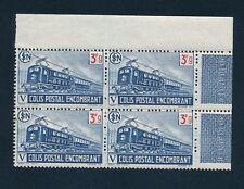 Colis Postaux - 1943 - n°215 - Neuf** - bloc de 4