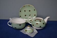 Cynthia Rowley  3 Piece Tea Pot Set Mint Green and Gold Dots NIB