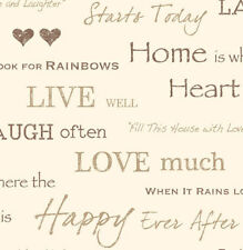Shabby Chic Home Is Where The Heart Is Gold Beige Hearts Letters Words Wallpaper