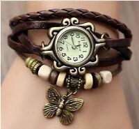 6 Color Quartz Fashion Weave WRAP Around Leather Bracelet Lady Woman Wrist Watch