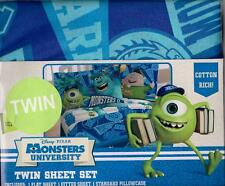 Disney Pixar Monsters U University TWIN Pillowcase Top Bottom Sheet 3pc. Set NIP