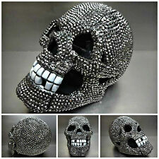 UNIQUE Rare BLING SKULL TELE PHONE DECORATION SCULPTURE HANDMADE Hematite Stones