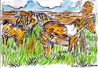 HORSES by RUTH  FREEMAN MIXED MEDIA MEASURES  5  X 7 WITH BACKBOARD