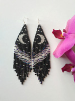 Fringe Beaded Earrings Black Silver Seed Bead earrings Moon earrings handmade