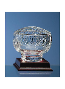 Personalised Rose Bowl 24% Lead Crystal Fan Lattice Cut Bowl (Diameter 11 cm)