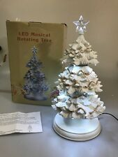 """Cracker Barrel Led Musical Rotating Tree Plays 8 Songs Exclusive 15 1/2"""" Tall"""