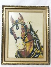 Vintage Horse Needlepoint Cross Stitch Wall Art Framed