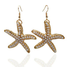 Gold Plated White Pearl Encrusted Starfish Hook Dangle Statement Earrings