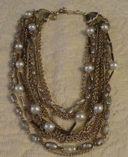 VINTAGE KRAMER OF NEW YORK 12 STRAND NECKLACE GOLD TONED 3 STRANDS WITH PEARLS