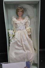 "Franklin Mint  Princess Diana VINYL Wedding Bride Doll Sealed COA 16"""