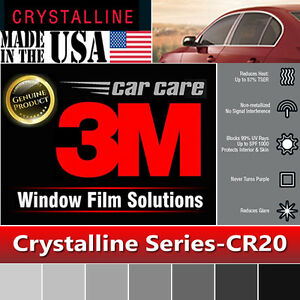 3M Window Film Crystalline 20% VLT Automotive Solar Tint Multi Size CR20