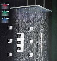 """Brushed 24"""" LED Rain Shower Head Thermostatic Mixer Valve Set Body Massage Jets"""