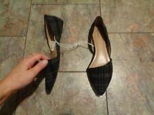 merona grey poppy plaid fabric pointed toe flats shoes size 8