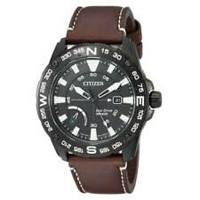Reloj para hombres Citizen PRT Power Reserve Correa de cuero marrón esfera negra AW7045-09E