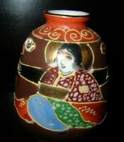 VINTAGE MORIAGE SATSUMA JAPAN GOLD HAND PAINTED SMALL VASE