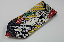 cravatta tie 100% seta soie silk BUGS BUNNY ICEBERG CARTOON giallo yellow (904)