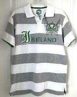 Lansdowne Men's Sz L  Ireland Rugby White Gray Striped Short Sleeve Polo Shirt